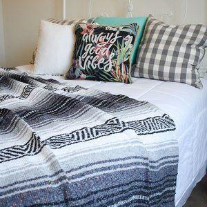 Boho Mexican Blanket Black Grey White